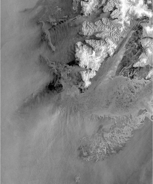 Figure 1: Subimage from 28 April 2010 showing a partly ice covered area close to Spitzbergen, Svalbard. (Data provider: NERSC)