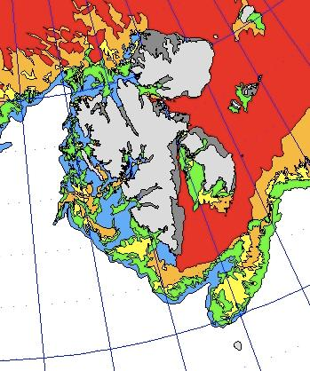 Figure 3: Sea ice classification map generated from operator analysis of satellite SAR data from 28 April 2010. (Data provider: METNO)
