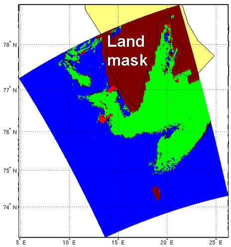 Figure 2: Sea ice classification map discriminating ice from open water in an ENVISAT ASAR subimage from 28 April 2010. Colour coding: Green – ice, blue – open water, red - unclassified. (Data provider: NERSC)