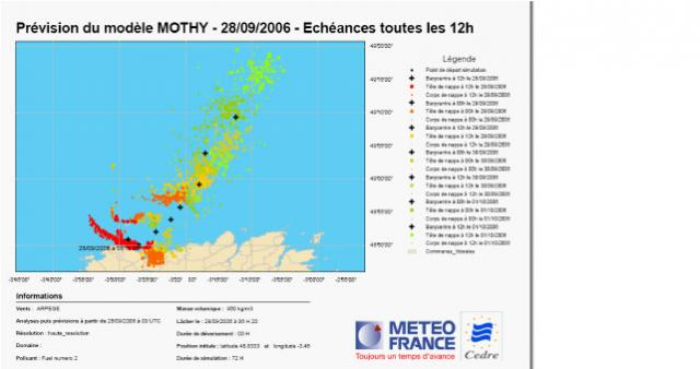 Figure 1: 4 days oil slick drift forecast form MOTHY model (Data provider: METEO FRANCE)