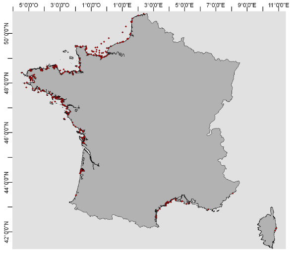 Figure 4 : REPHY (French PhytoPlancton Network), more than 300 stations along the French coasts